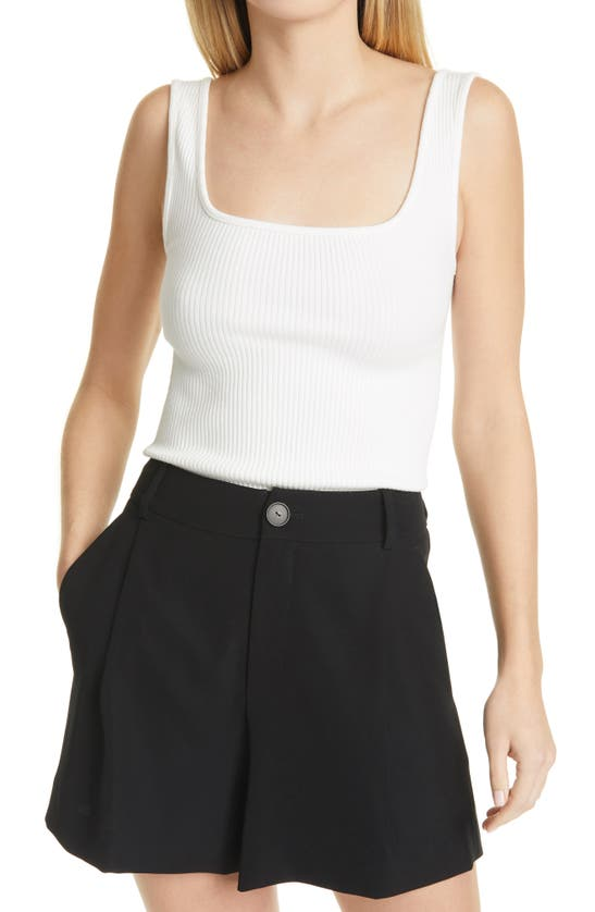 VINCE Tops RIBBED SQUARE NECK TANK