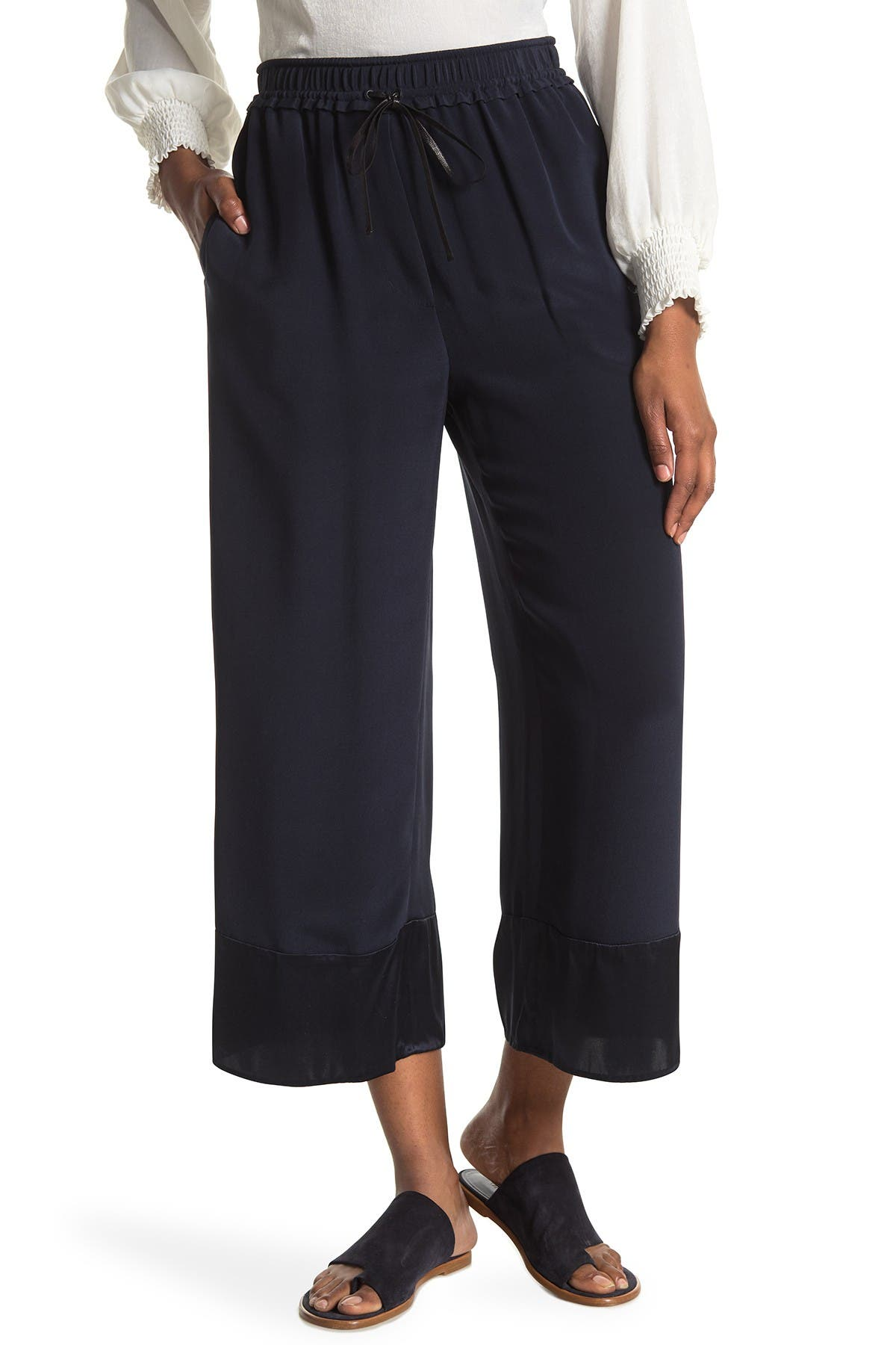 Image of 3.1 PHILLIP LIM Pull-On Wide Leg Cropped Silk Pants