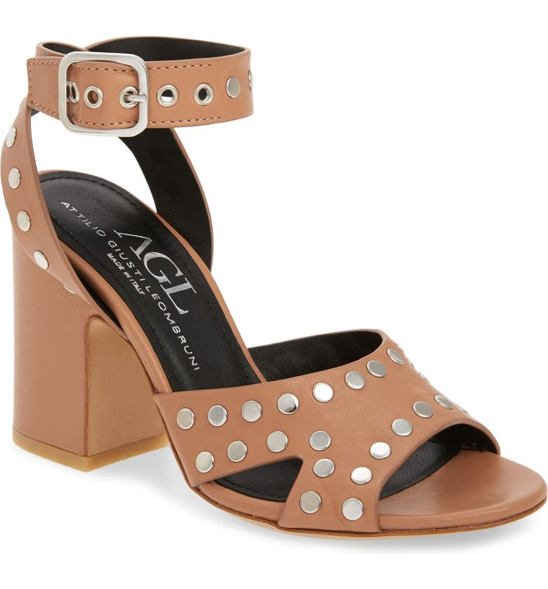 AGL High Studded Sandal, Main, color, CARAMEL LEATHER