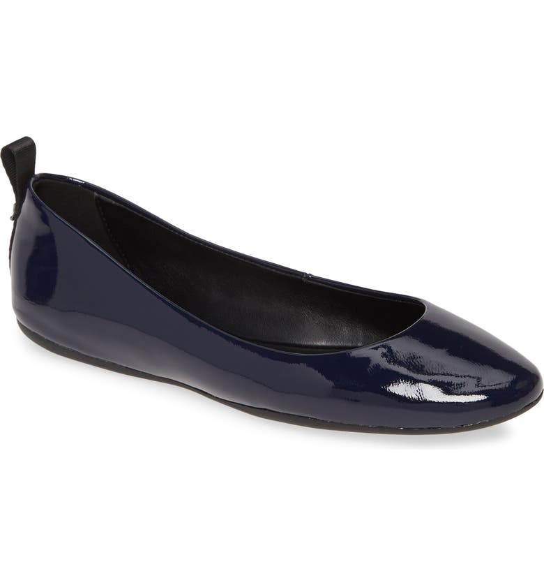 KARL LAGERFELD PARIS Vada Flat, Main, color, NAVY PATENT LEATHER