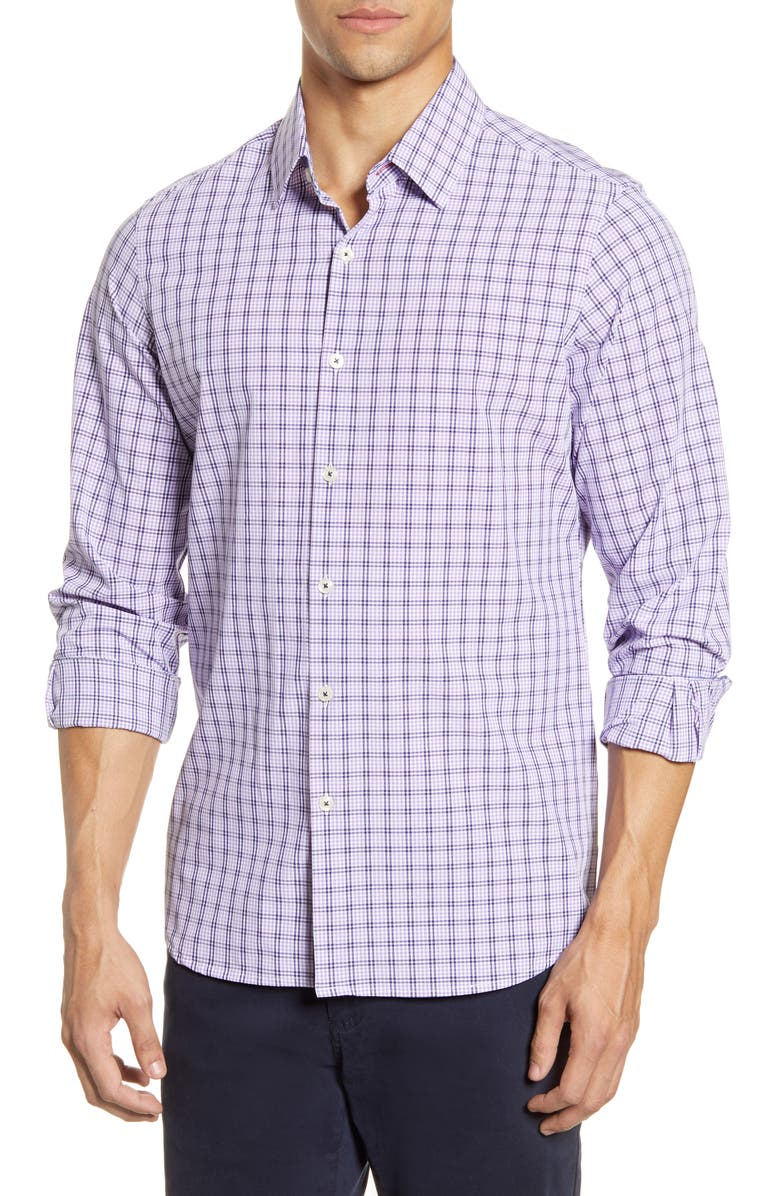 MOVE PERFORMANCE APPAREL Plaid Button-Up Shirt, Main, color, 550