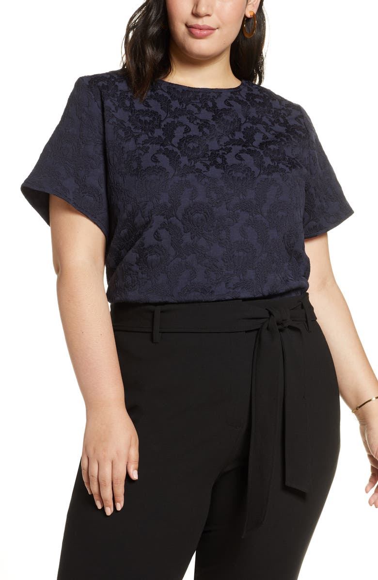 HALOGEN<SUP>®</SUP> Floral Jacquard Top, Main, color, NAVY PEACOAT
