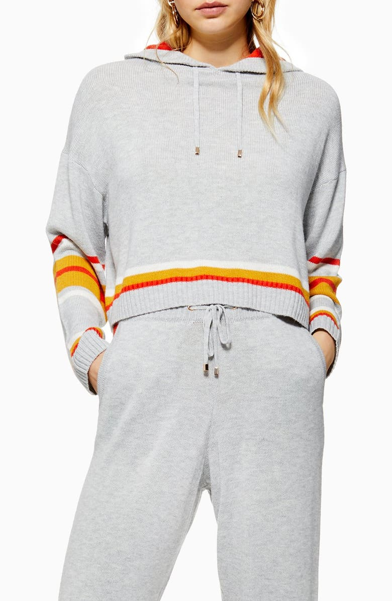 TOPSHOP Stripe Hooded Sweater, Main, color, GREY