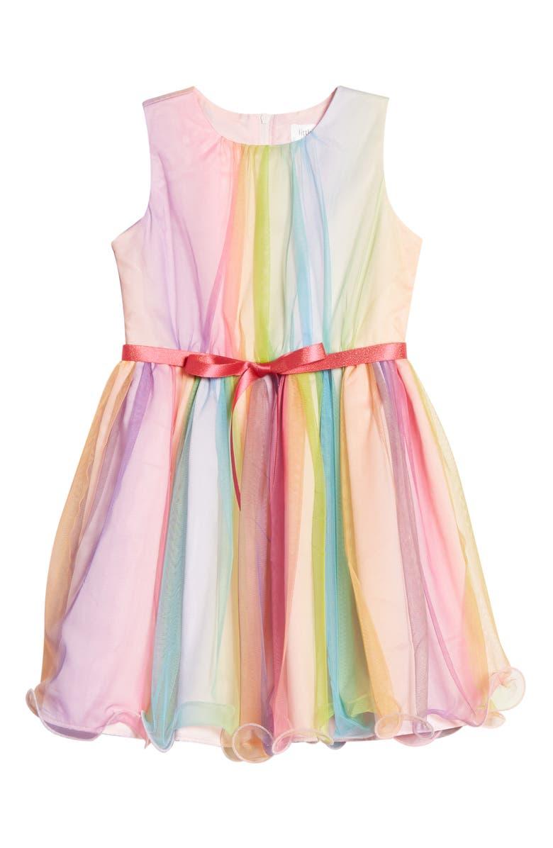 LITTLE ANGELS Ombré Sleeveless Dress, Main, color, MULTI
