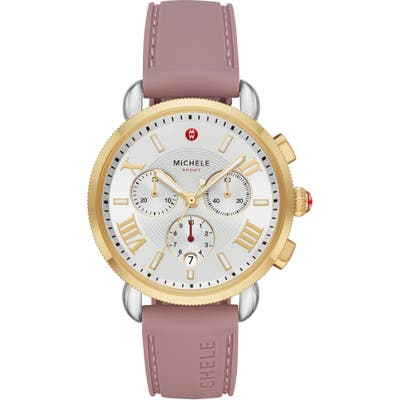 Michele Sport Sail Chronograph Watch Head With Silicone Strap,