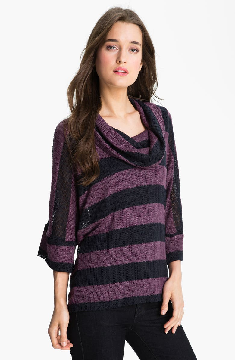 SPLENDID Stripe Cowl Neck Sweater, Main, color, 500