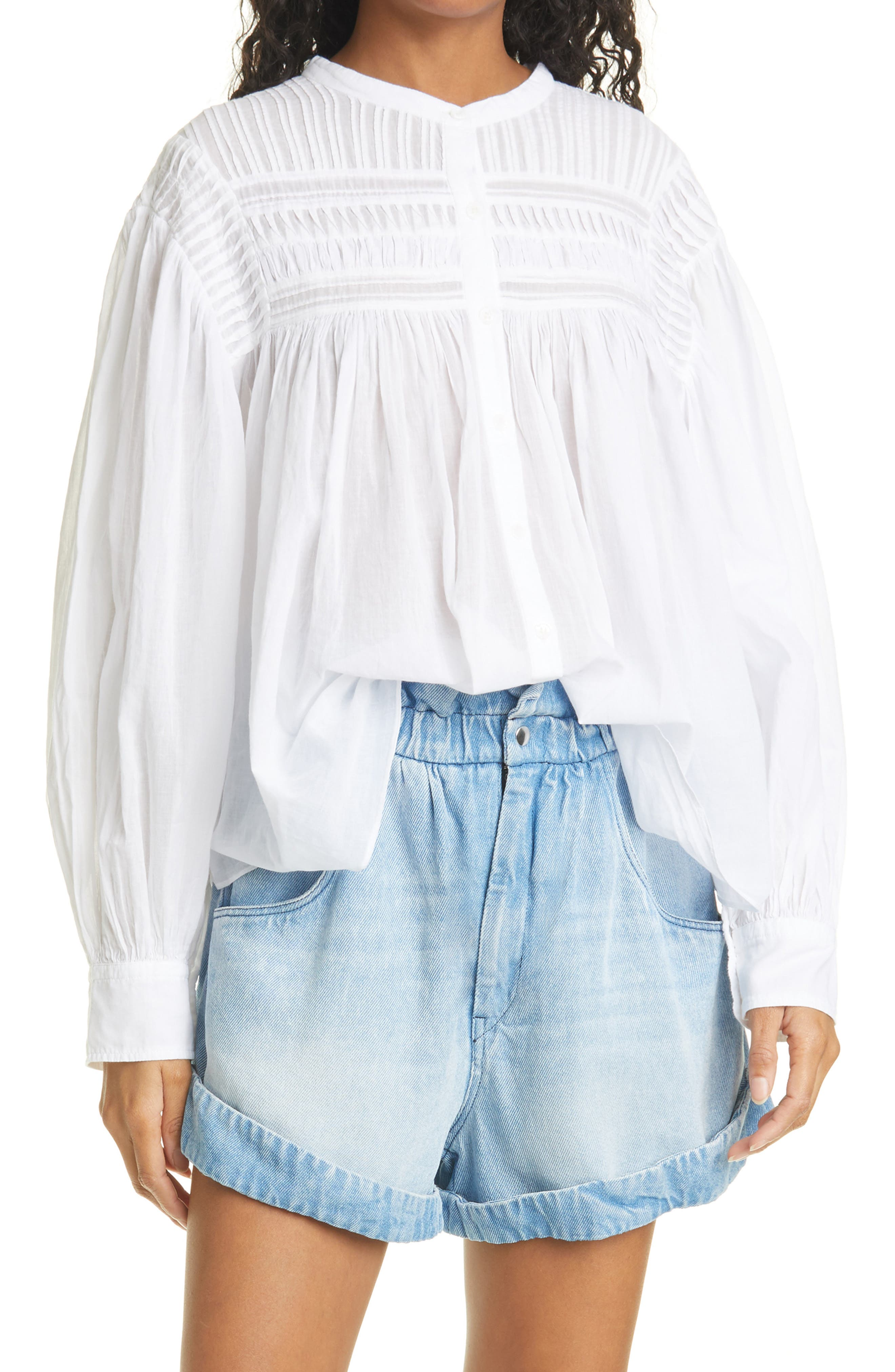 Women's Isabel Marant Etoile Maria Plalia Pintuck Cotton Blouse