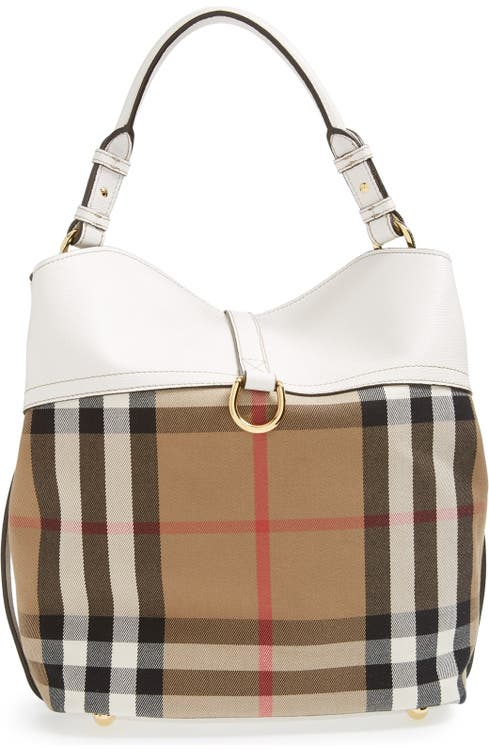 649df624a8 Burberry 'Medium Sycamore' House Check & Leather Hobo | Nordstrom