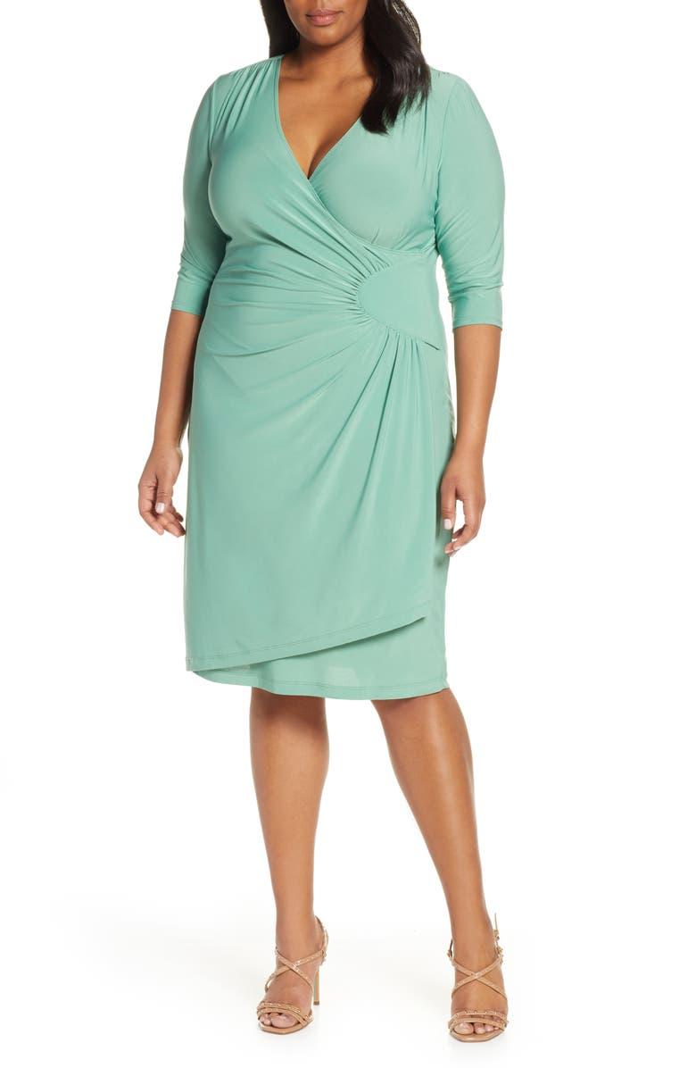 KIYONNA Ciara Cinch Sheath Dress, Main, color, SAGE