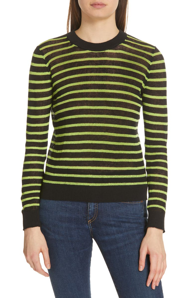 VERONICA BEARD Dean Stripe Linen Blend Sweater, Main, color, 001