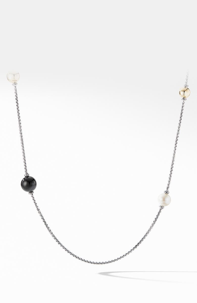 DAVID YURMAN Solari XL Station Chain Necklace with Black Onyx, Pearls and 14K Yellow Gold, Main, color, SILVER/ ONYX/ PEARL