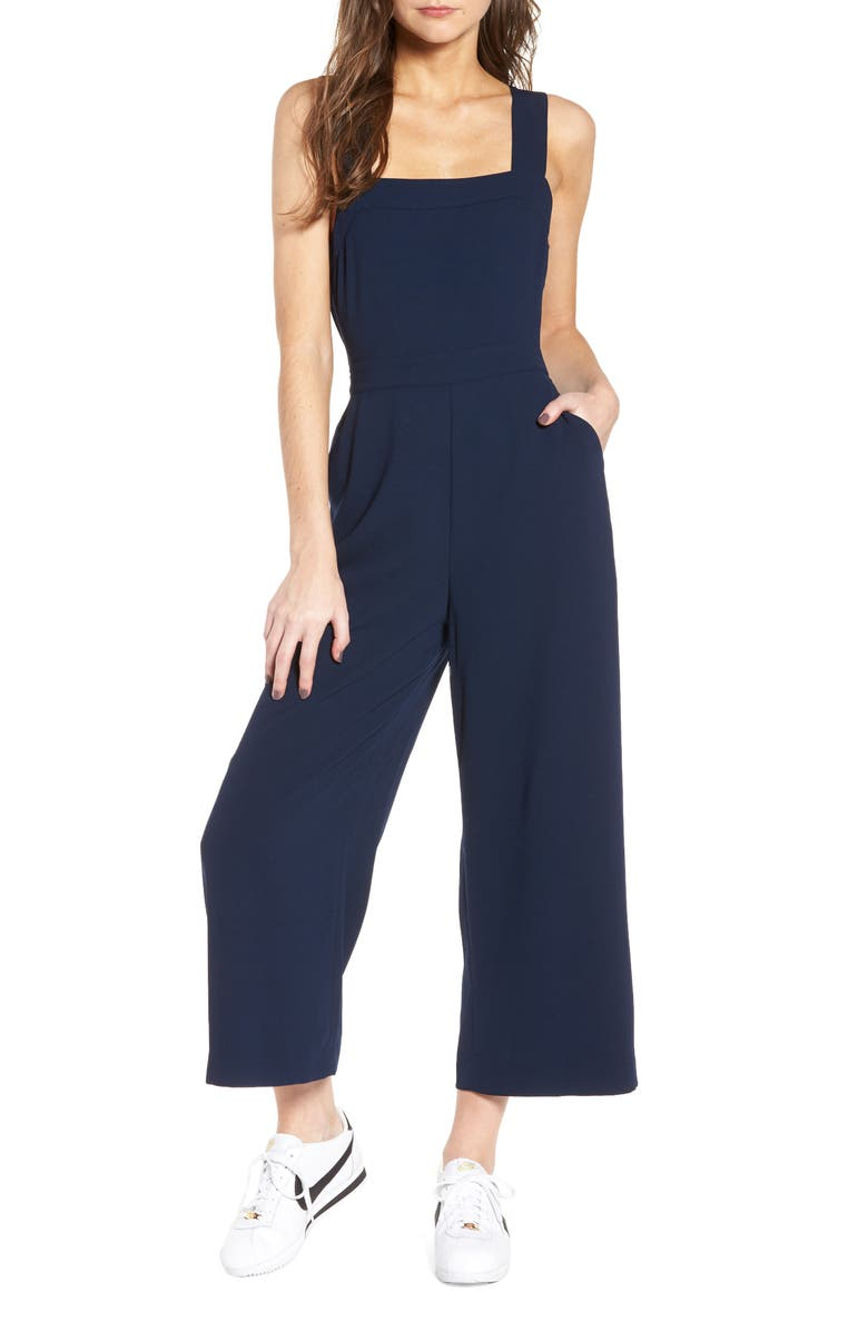 MADEWELL Apron Bow Back Jumpsuit, Main, color, 400