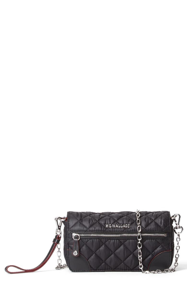MZ WALLACE Crosby Convertible Wristlet, Main, color, BLACK
