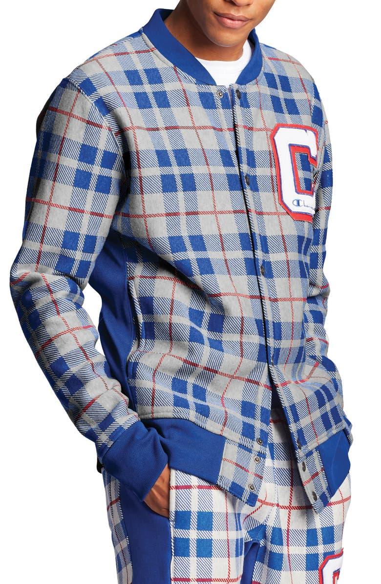 CHAMPION Plaid Baseball Jacket, Main, color, OXFORD GREY/ SURF THE WEB