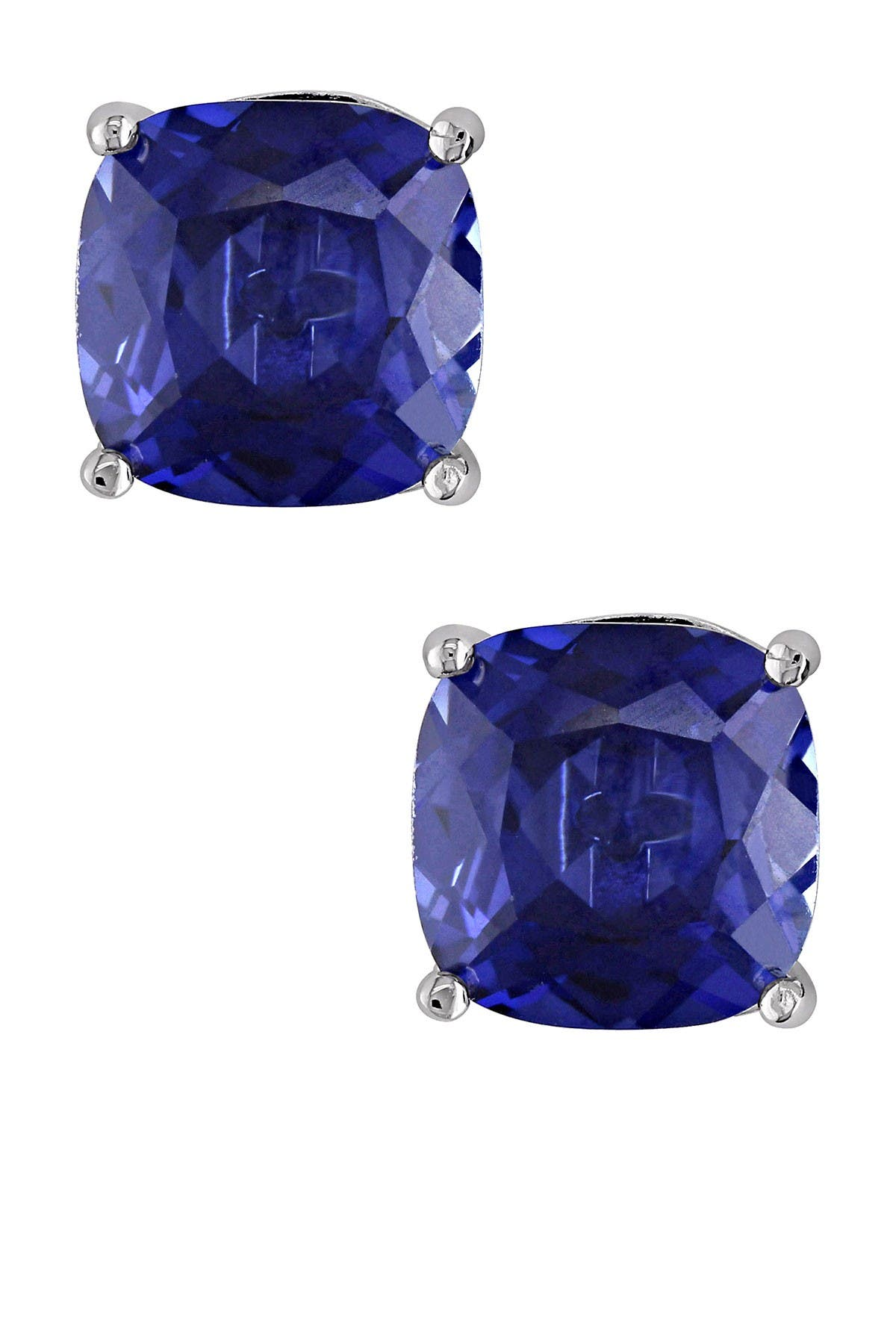 Image of Delmar Sterling Silver Created Blue Sapphire Cushion Stud Earrings
