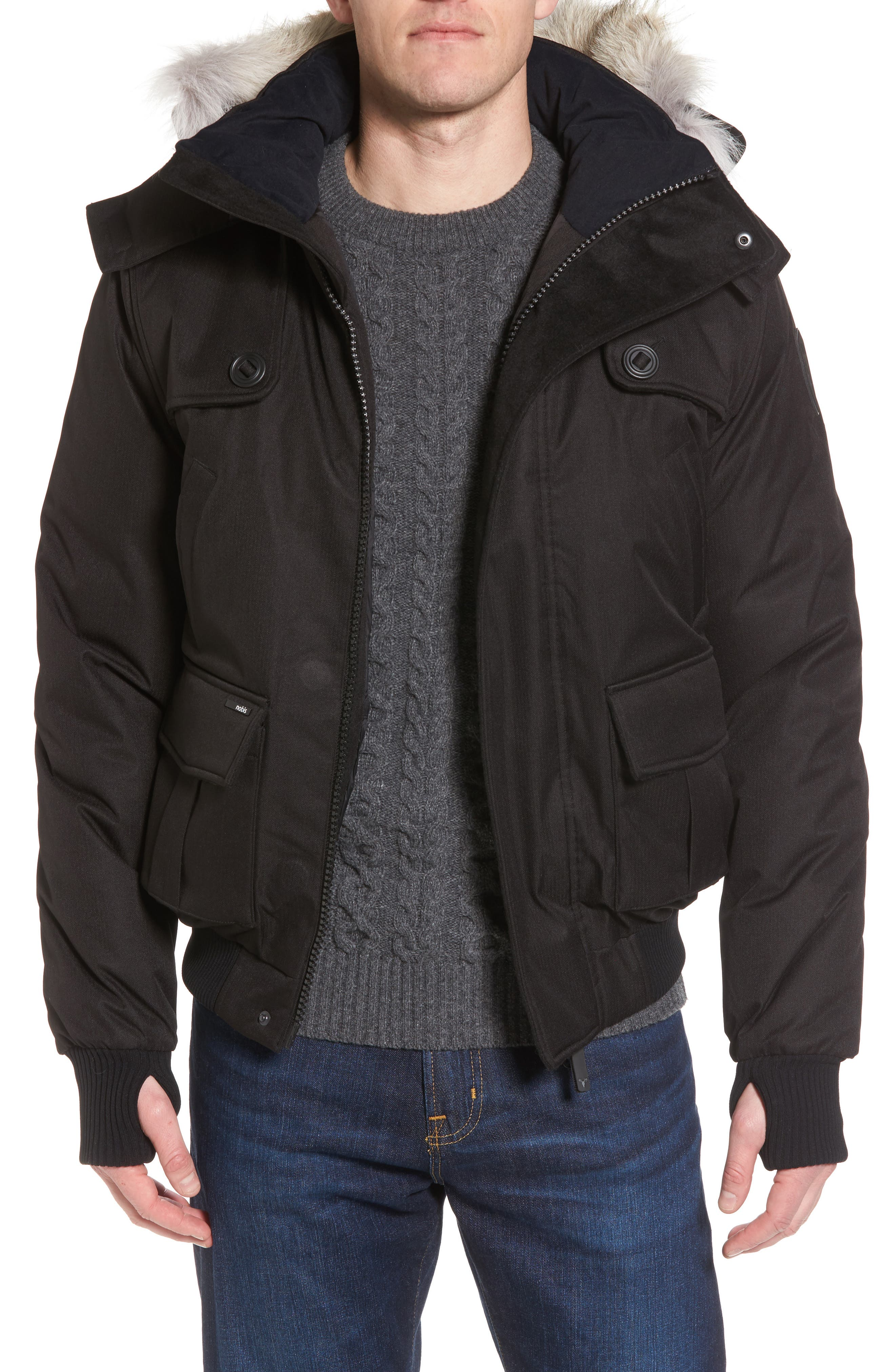 Windproof & Waterproof 650-Fill Power Down Bomber Jacket with Genuine Coyote Fur Trim, Main, color, BLACK