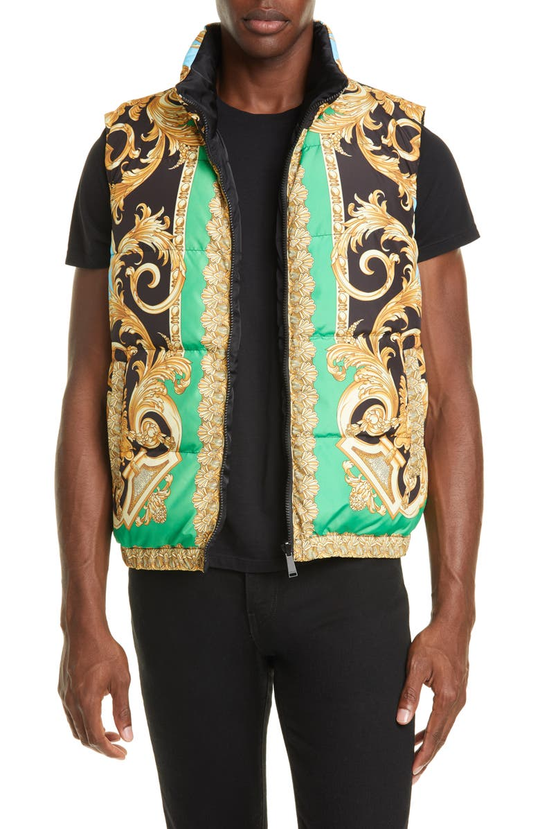 VERSACE Print Down Puffer Vest, Main, color, GREEN/LIGHT BLUE