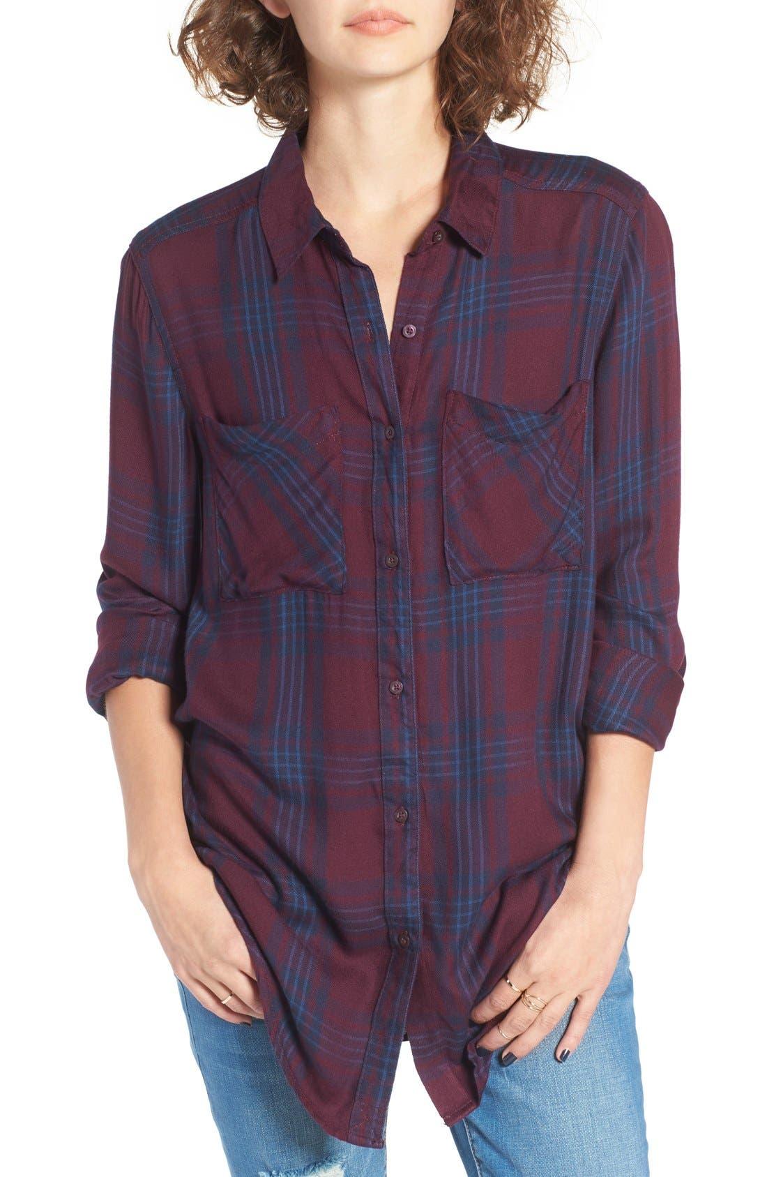,                             Plaid Tunic Shirt,                             Main thumbnail 49, color,                             930