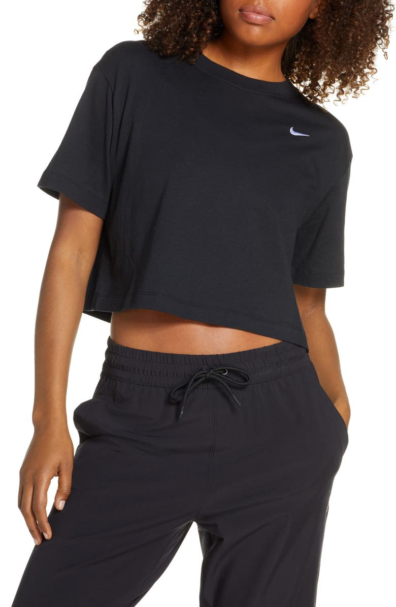 NIKE Sportswear Essential Crop Organic Cotton Tee, Main, color, BLACK/ WHITE