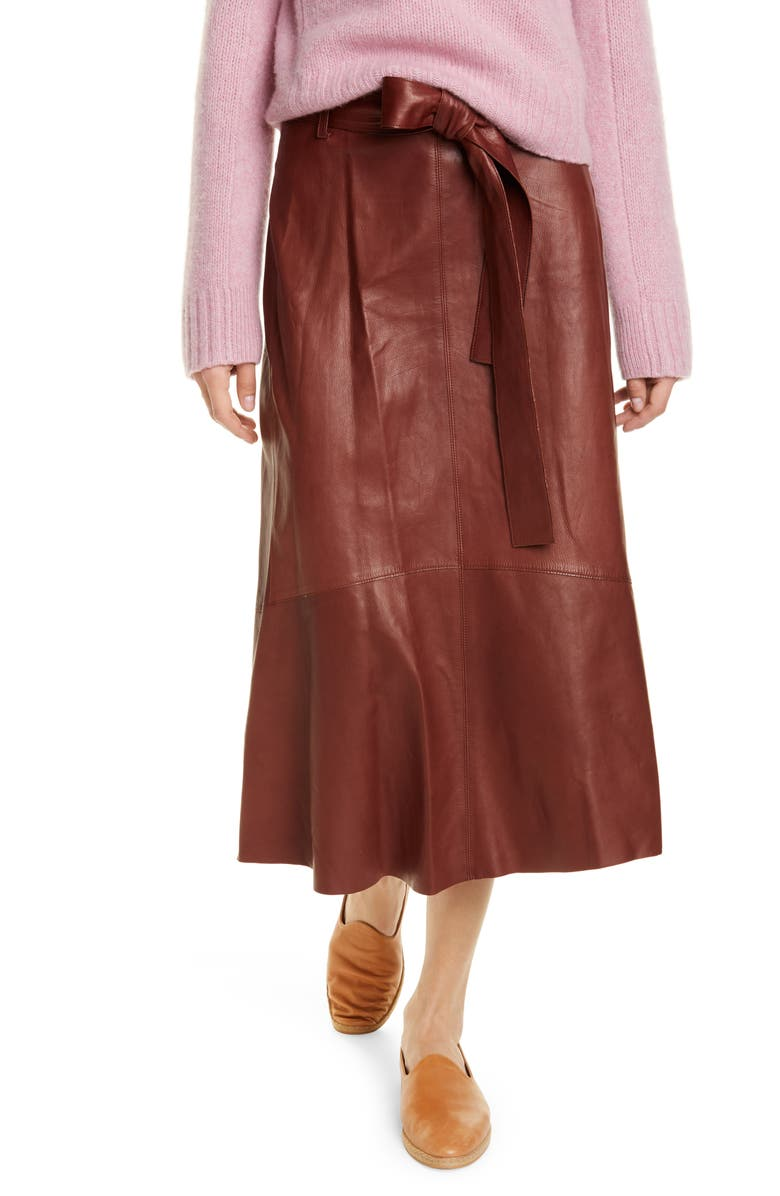 VINCE Leather Midi Skirt, Main, color, DARK MAHOGANY