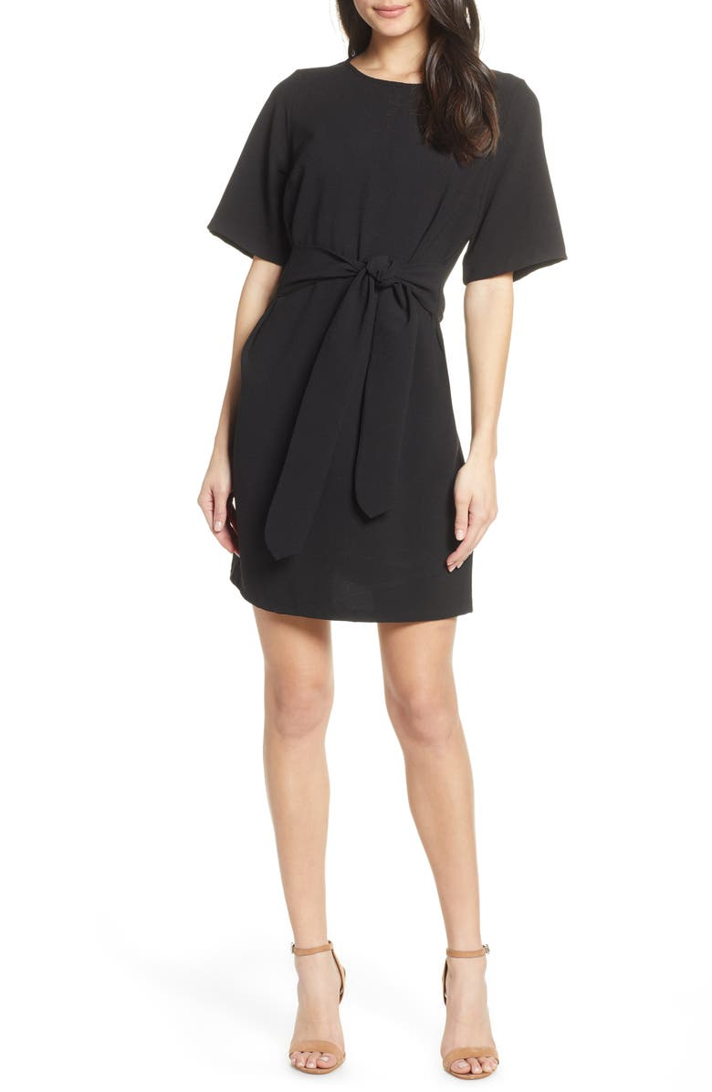 CHELSEA28 Front Tie Shift Dress, Main, color, BLACK