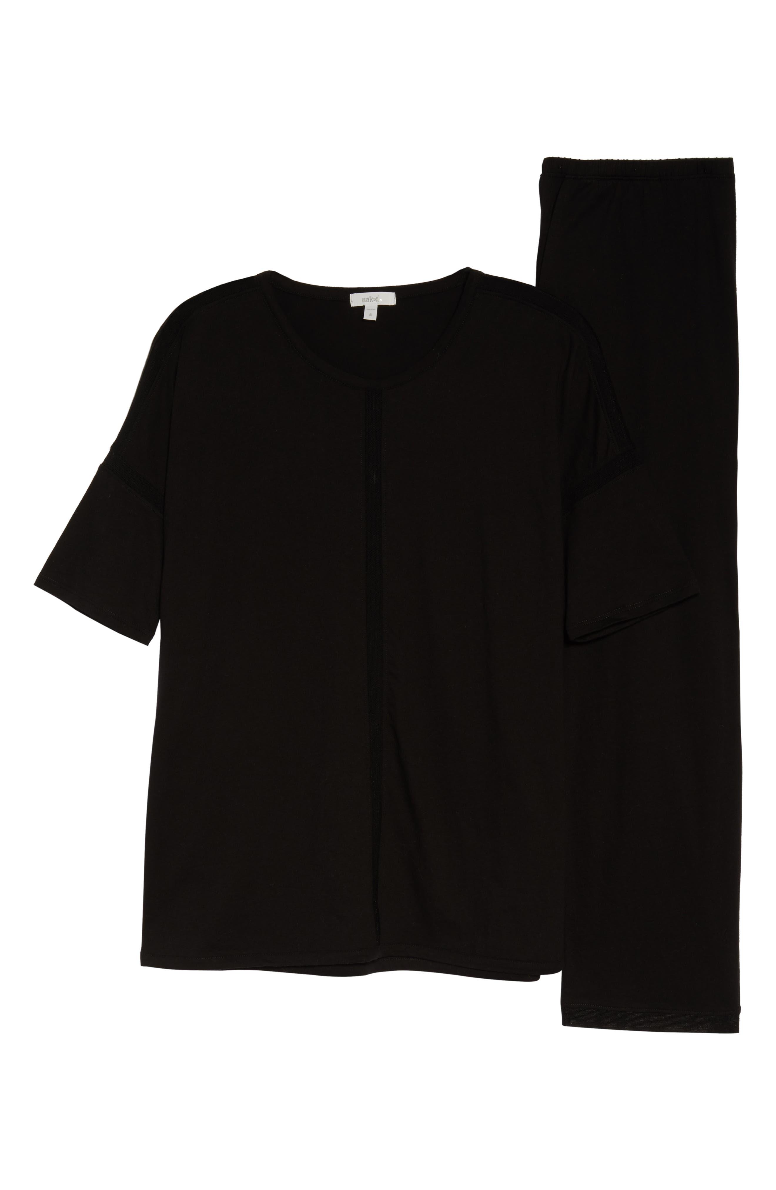 ,                             Crop Pajamas,                             Alternate thumbnail 6, color,                             BLACK