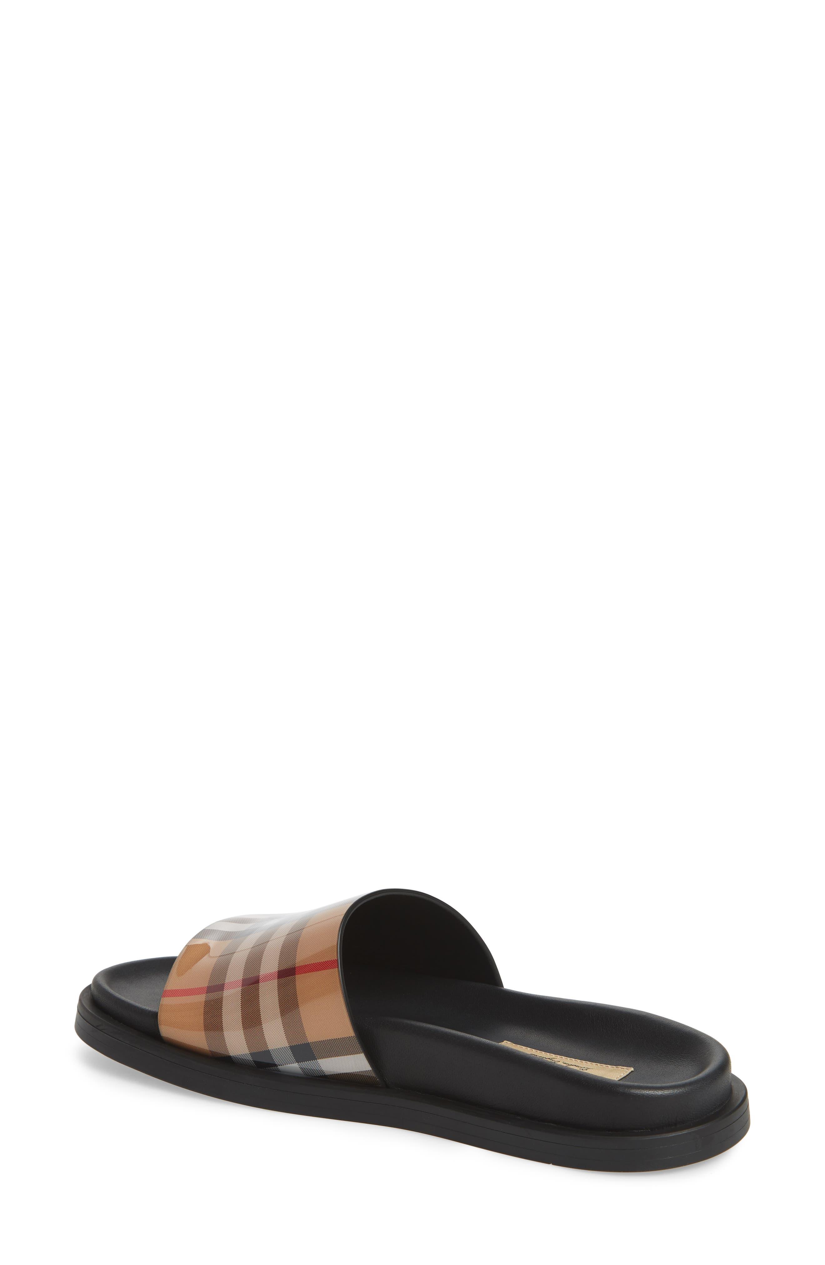 ,                             Vintage Check Slide Sandal,                             Alternate thumbnail 3, color,                             BEIGE PLAID