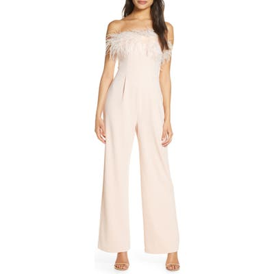 Eliza J Feather Strapless Jumpsuit, Pink