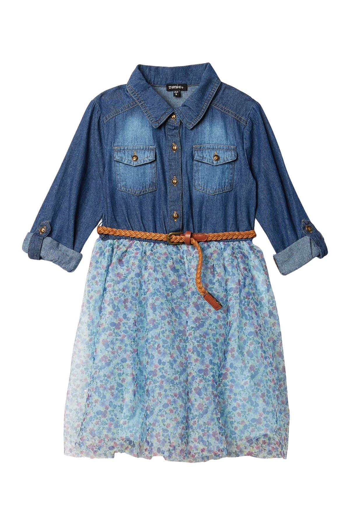 Zunie Denim & Ditsy Floral Dress