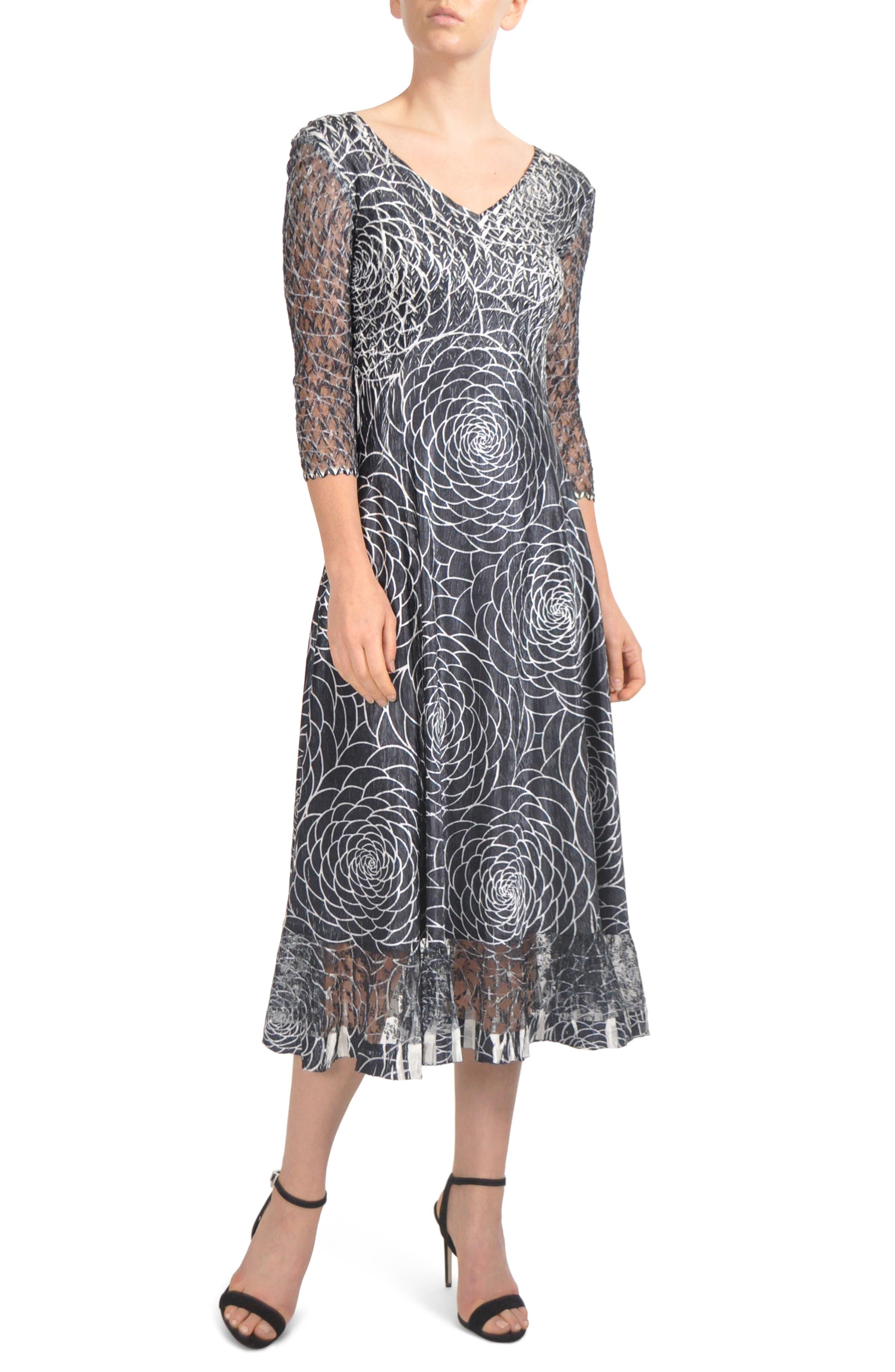 Petite Komarov Charmeuse & Lace Midi Dress, Black