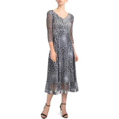 Petite Komarov Charmeuse & Lace Midi Dress, Black