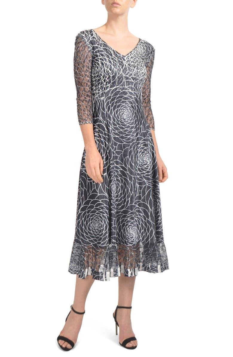 KOMAROV Charmeuse & Lace Midi Dress, Main, color, 001