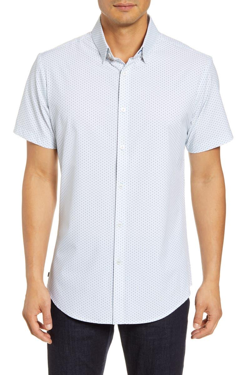 MIZZEN+MAIN Trim Fit Short Sleeve Button-Up Shirt, Main, color, BLUE