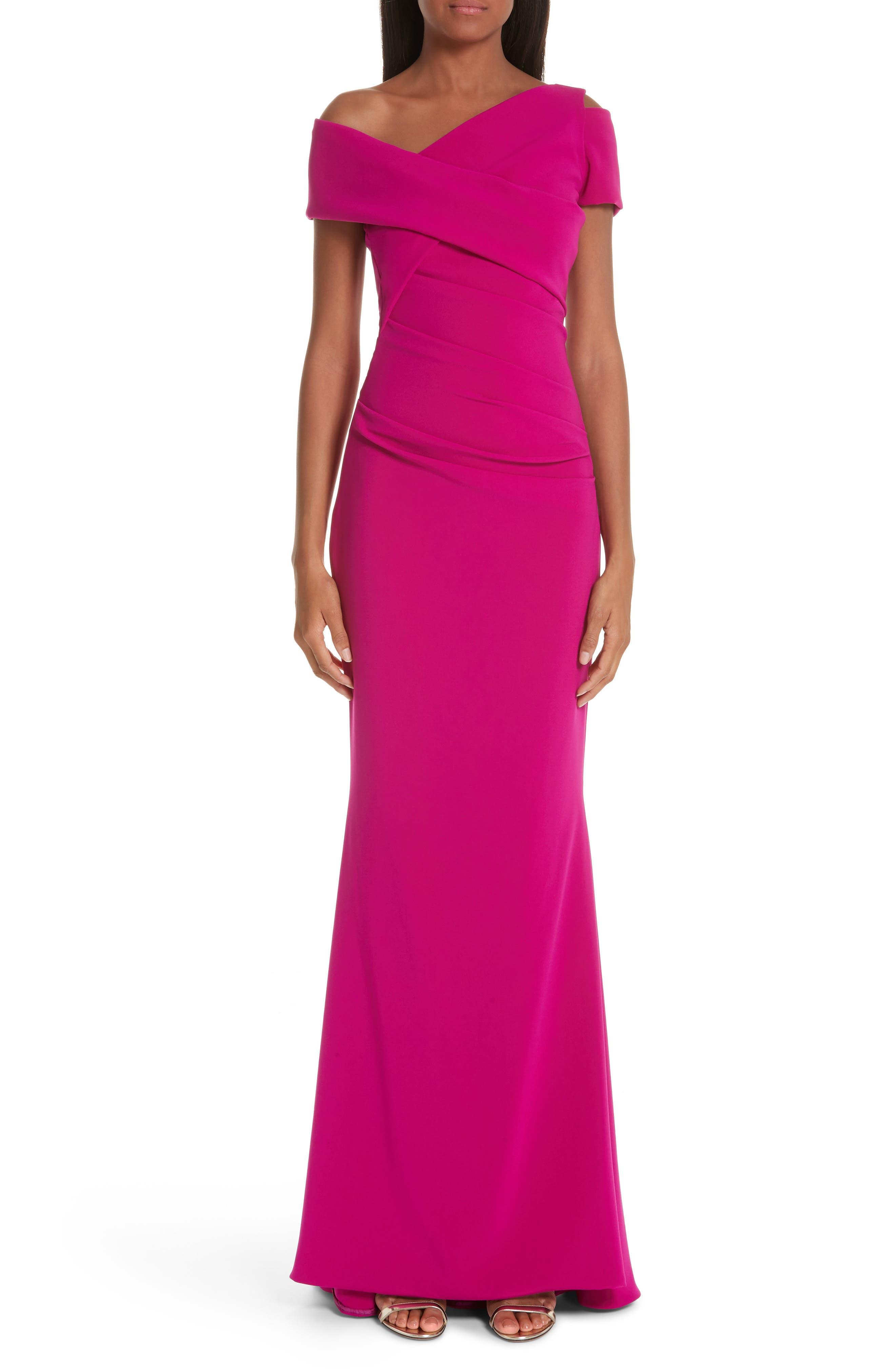 Talbot Runhof Asymmetrical Evening Dress, Pink