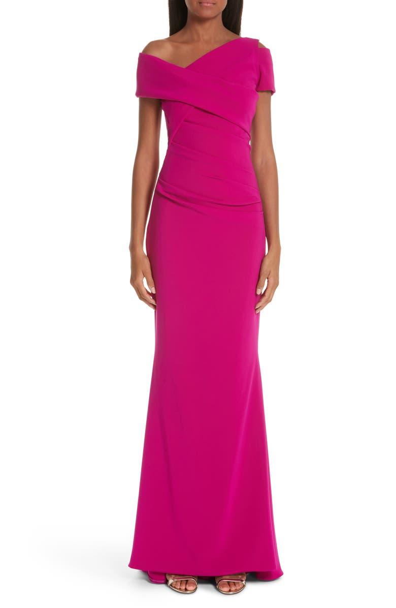 TALBOT RUNHOF Asymmetrical Evening Dress, Main, color, RAZZMTAZZ