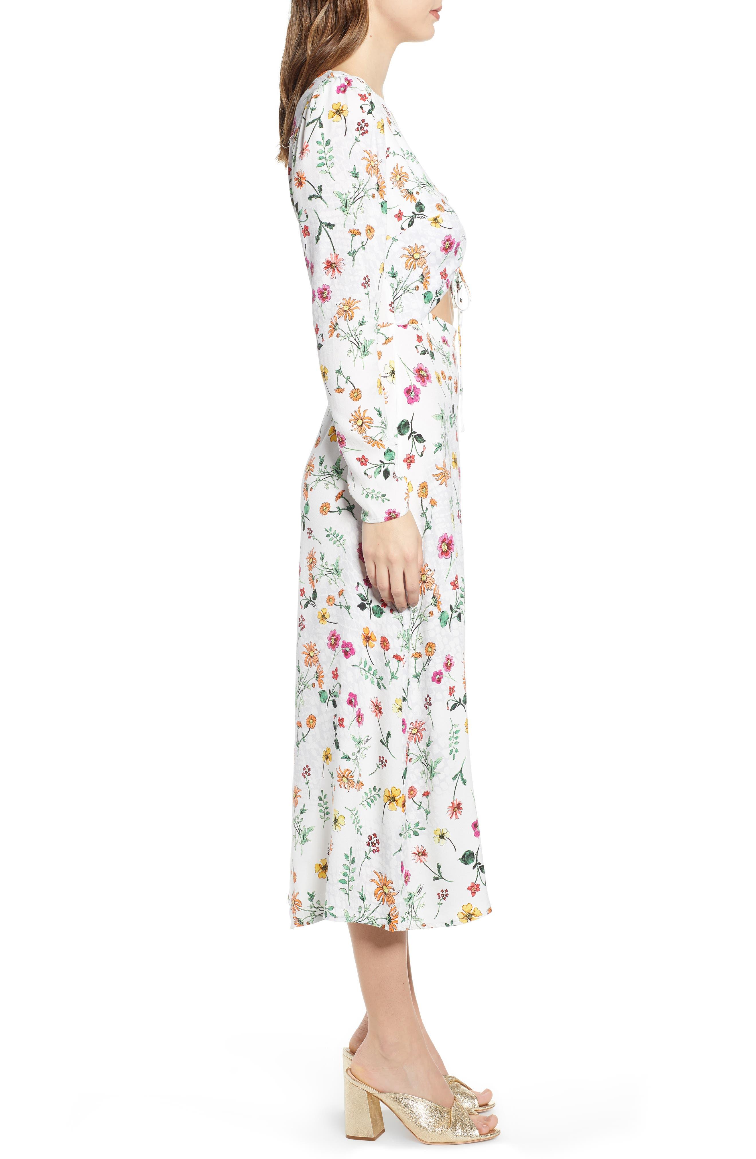 ,                             Carlo Cinched Front Midi Dress,                             Alternate thumbnail 4, color,                             PRINTEMPS FLORAL