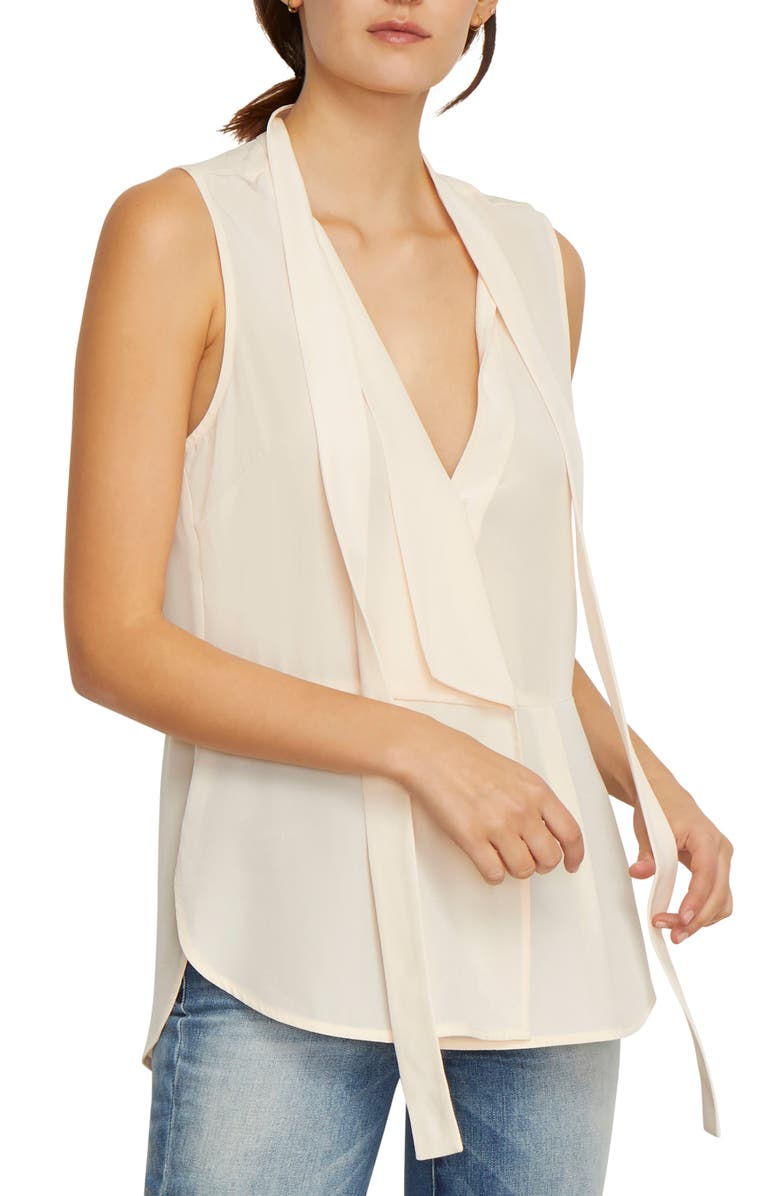 HABITUAL Clio Sleeveless Tie Neck Silk Blouse, Main, color, SOFT PINK
