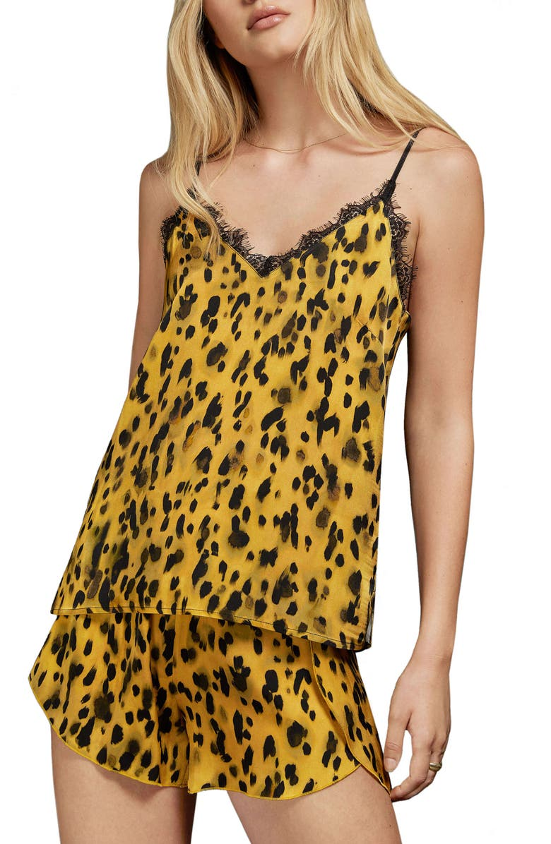 ANINE BING Golden Leopard Silk Charmeuse Camisole, Main, color, GOLDEN LEOPARD