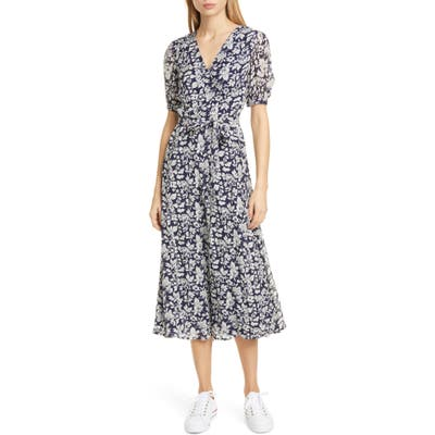 Polo Ralph Lauren Floral Crepe Wrap Midi Dress, Blue