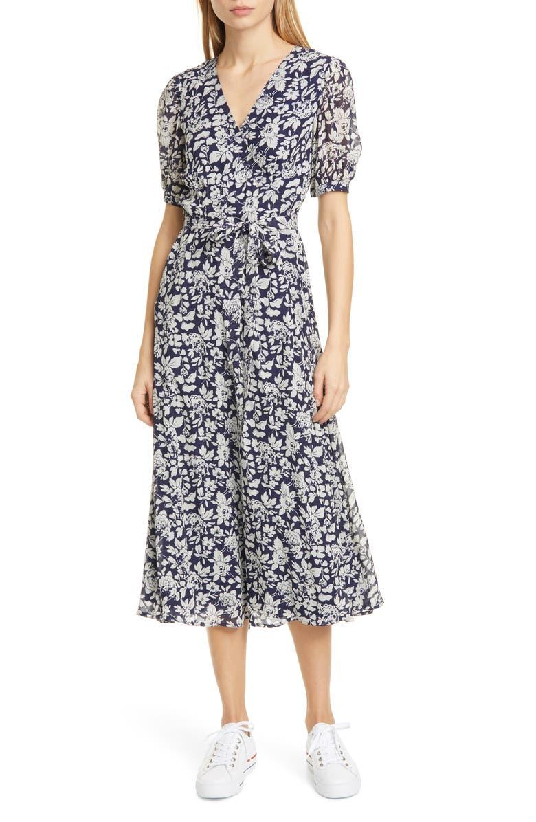 POLO RALPH LAUREN Floral Crepe Wrap Midi Dress, Main, color, NAVY FLORAL