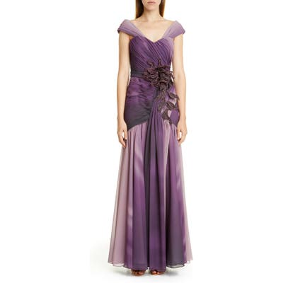 Patbo Ombre Embellished Chiffon Gown, US / 44 BR - Purple