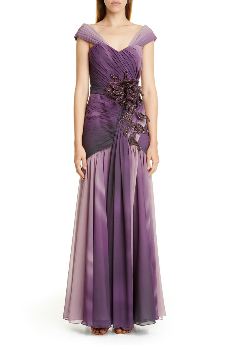PATBO Ombré Embellished Chiffon Gown, Main, color, PURPLE