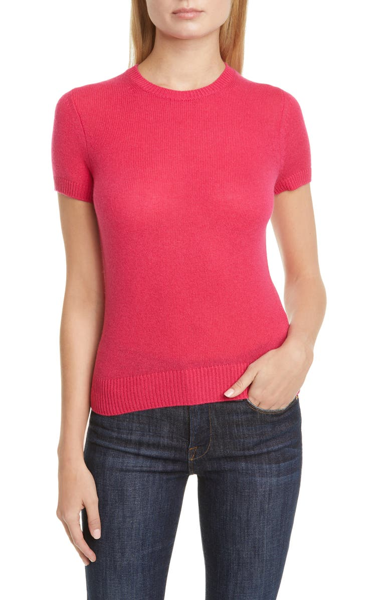 THEORY Featherweight Cashmere Sweater, Main, color, BRIGHT MAGENTA