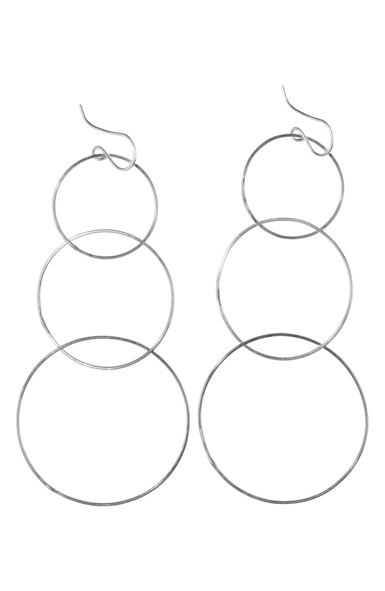 NASHELLE Triple Hoop Drop Earrings, Main, color, SILVER