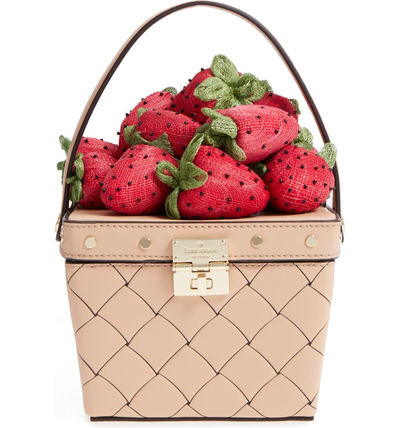 KATE SPADE NEW YORK picnic perfect strawberry woven leather basket bag, Main, color, 600