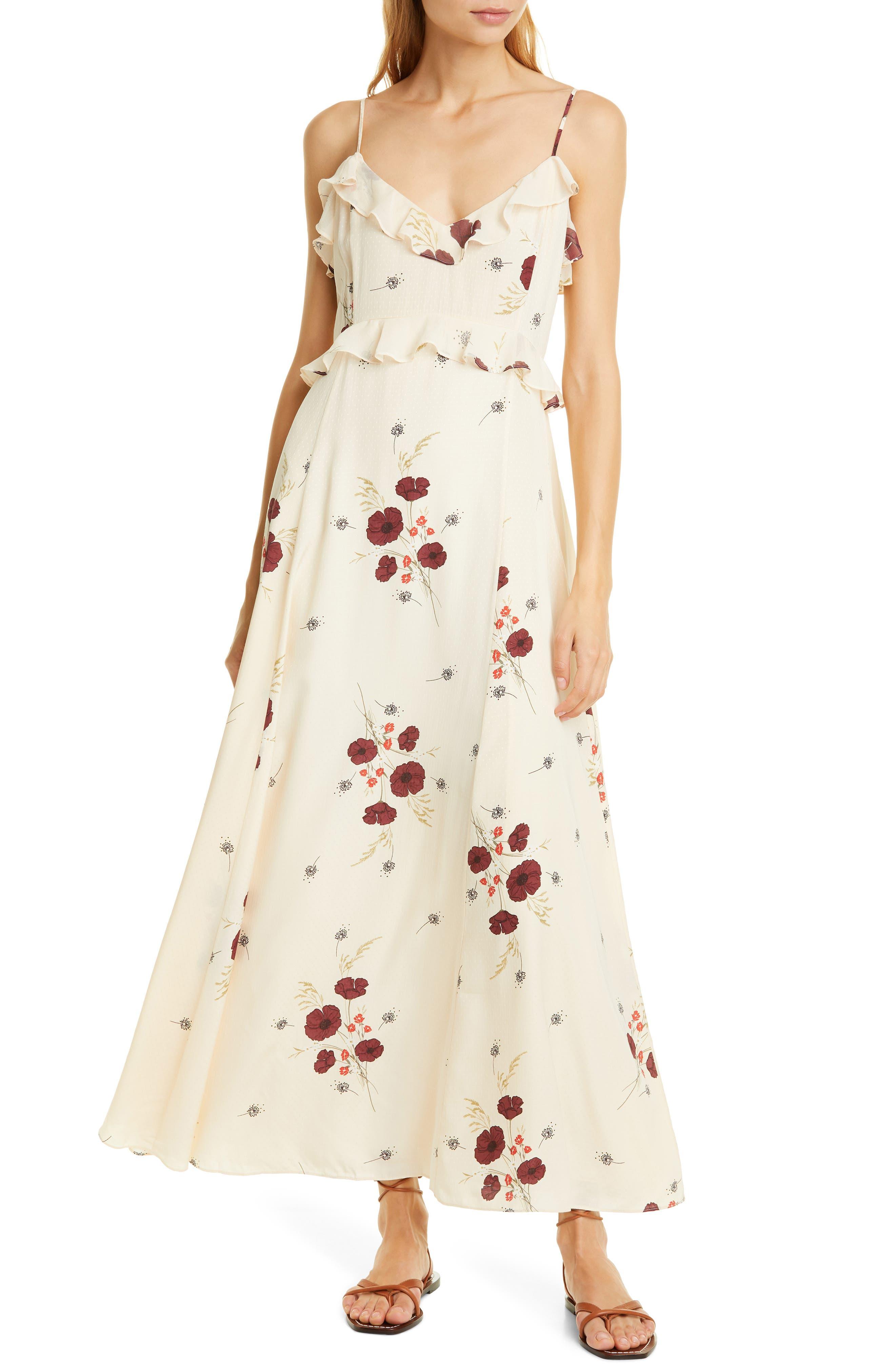 Joie Cassiel Floral Ruflle Dress, White