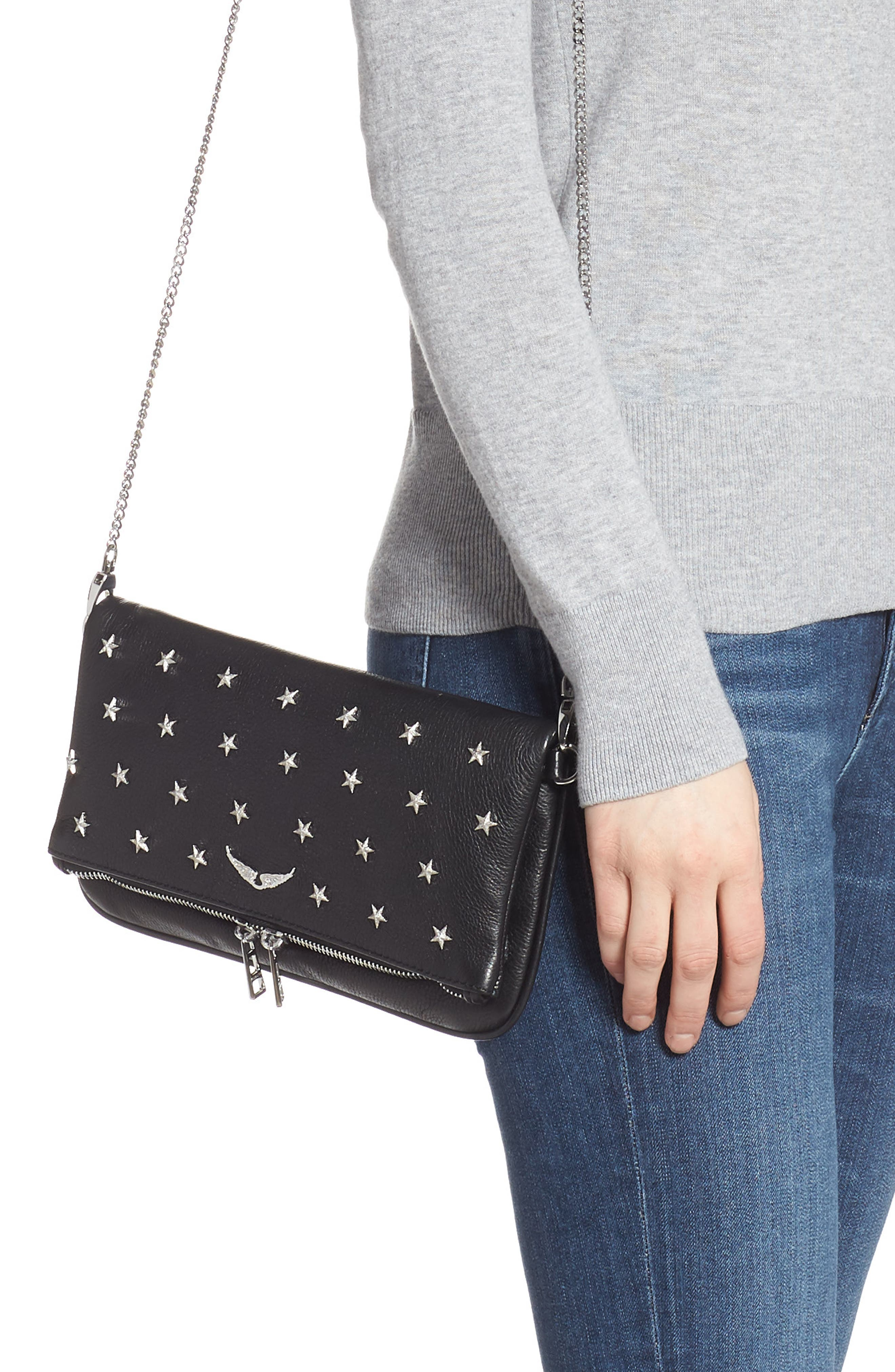Zadig & Voltaire Clutch Rock Star Studded Leather Clutch