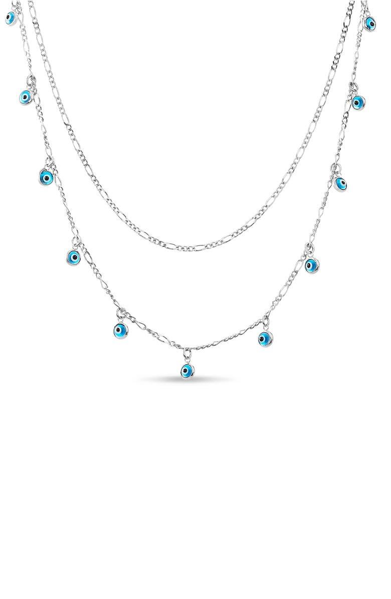 LESA MICHELE Blue Eye Charm Necklace, Main, color, BLUE