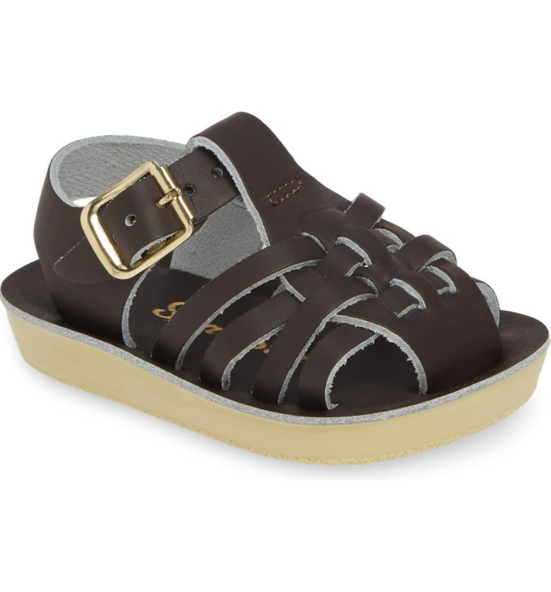 SALT WATER SANDALS BY HOY Water Friendly Fisherman Sandal, Main, color, BROWN