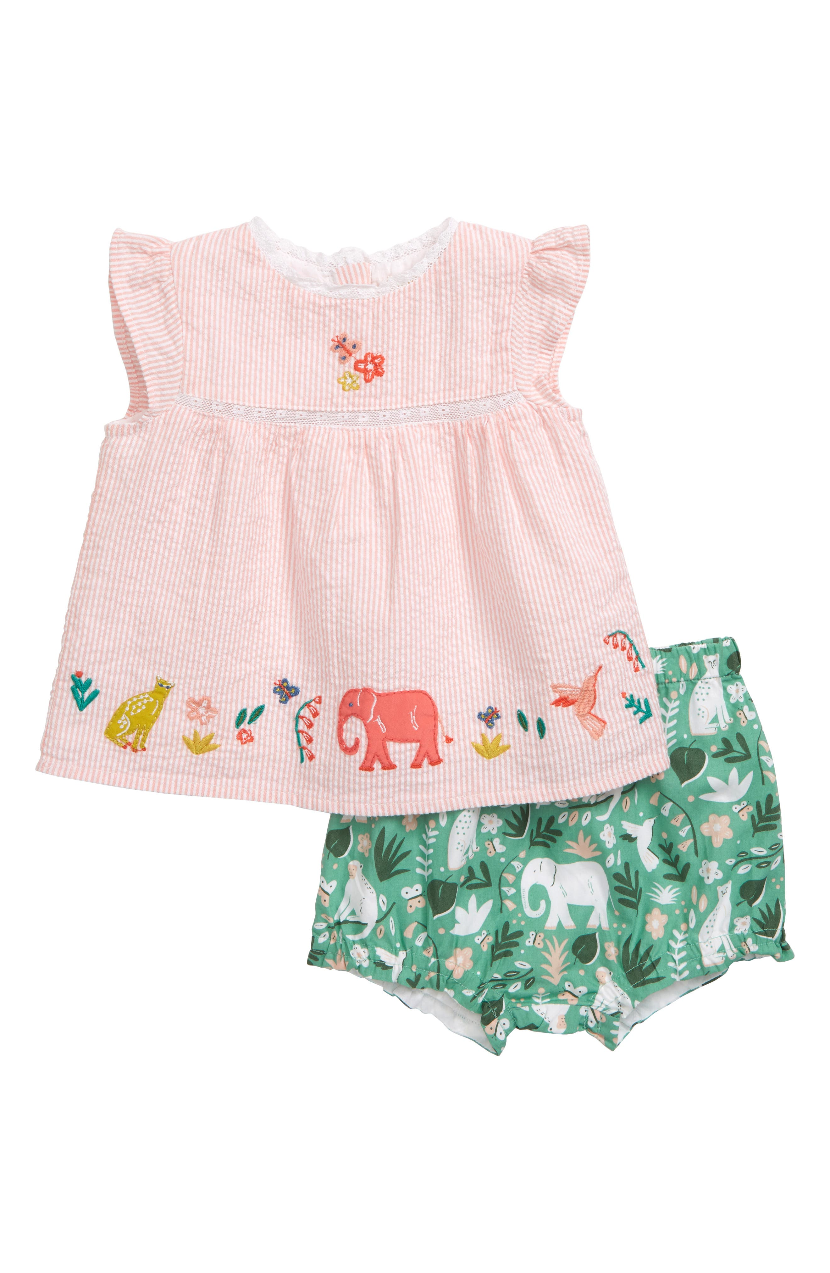 Toddler Girls Mini Boden Sunny Days Embroidered Top  Bubble Shorts Set (Baby  Toddler Girls)